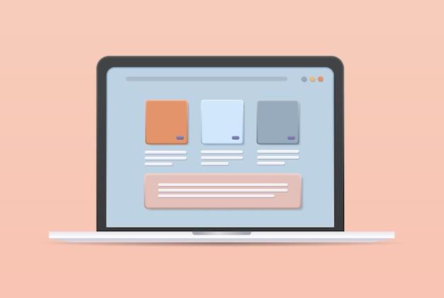 Different applications on laptop screen app development web design concept