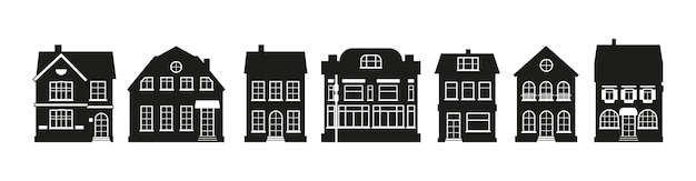 Different architecture building tall town. black houses silhouette amsterdam set