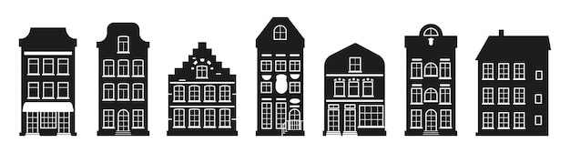 Different architecture building tall town. glyph urban and suburban home cottage. black houses silhouette amsterdam set