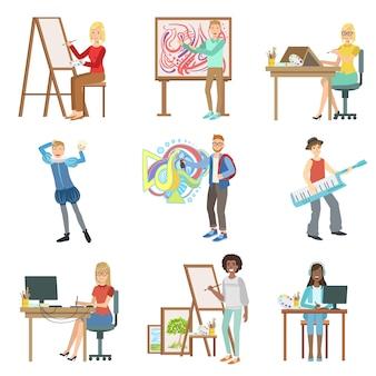 삽화의 다른 예술 직업 세트