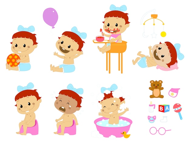 Different baby poses and accesories