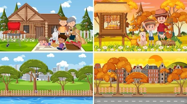Различные фоновые сцены природы в наборе