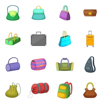 Different bagage icons set