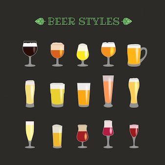 Different beer glasses style vector collection