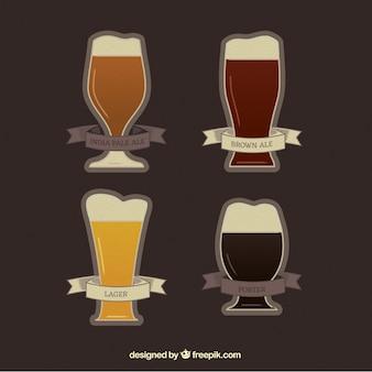 Различные сорта пива с их именами на этикетках