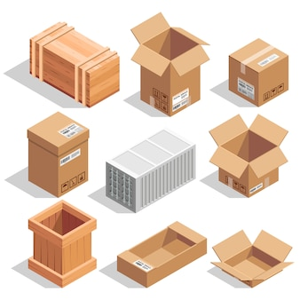 Different big delivery packages. warehouse or shipping closed and opening boxes.