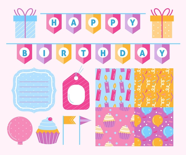 Different birthday decorative scrapbook elements collection