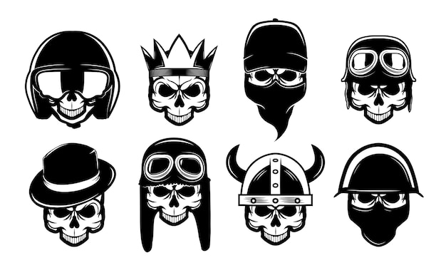 Different black skulls in bandana, hat or helmet flat icon set. bikers rock symbols for tattoo or motorcycle vector illustration collection. rebel, anarchism and freedom
