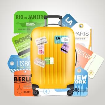 Различная коллекция посадочных талонов и современная дорожная сумка. концепция путешествия