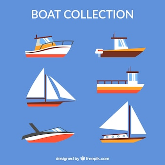 Different boats in flat design