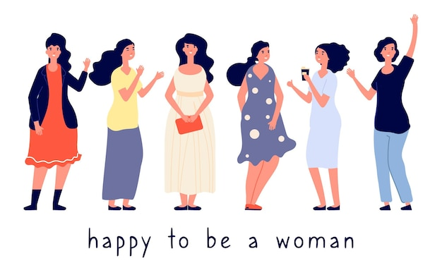 Different body types. different women vector illustration. body positive concept, happy women flat characters. oversize, plump, slim girls. illustration diversity fatty, overweight pretty positivity