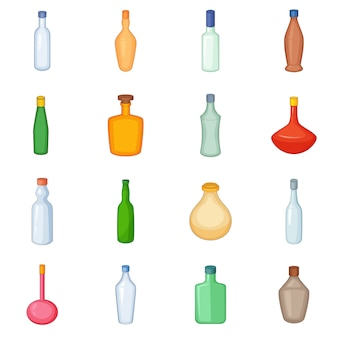 Different bottles icons set