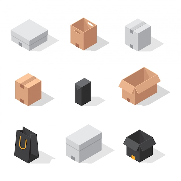 Different box vector icons