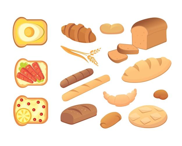 さまざまなパンやベーカリー製品のイラスト