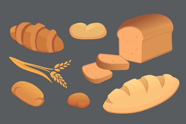 Different breads and bakery products  illustrations. buns for breakfast. set bake food isolated