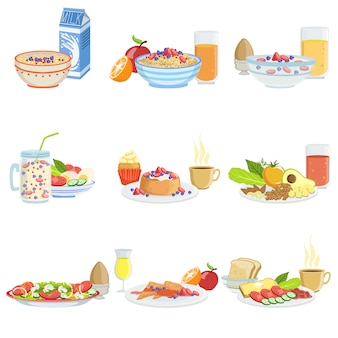 Different breakfast food and drink sets