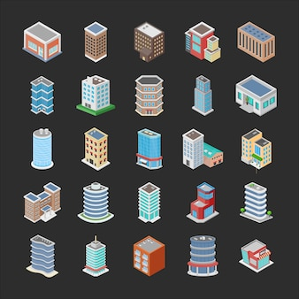 Different buildings icons pack