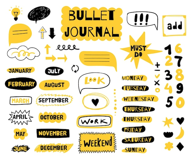 Different bullet journal elements set