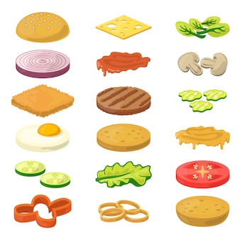 Different burgers ingredients in cartoon style