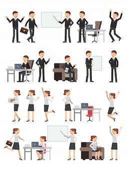Different business peoples male and female in action poses.