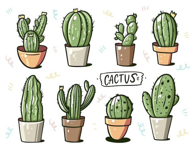 Different cactus in home flower pots. cartoon style.