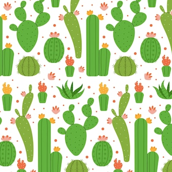 Different cactuses pattern illustrated