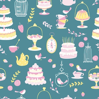 Different cakes and gifts seamless pattern