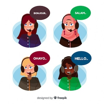 Avatar di call center diversi in stile piatto