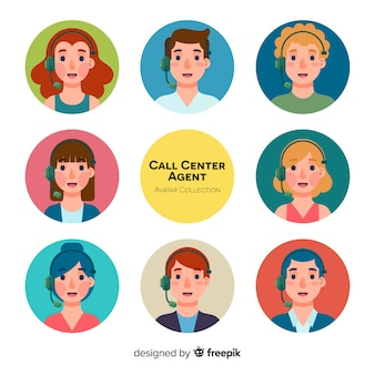 Different call center avatars in flat design
