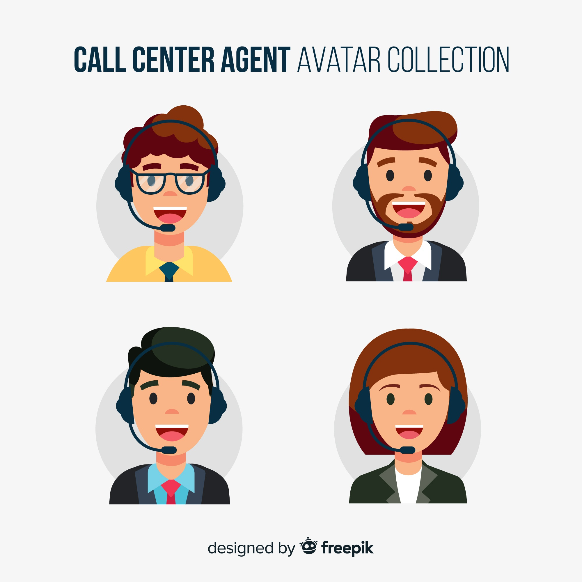 Different call center avatars in flat design