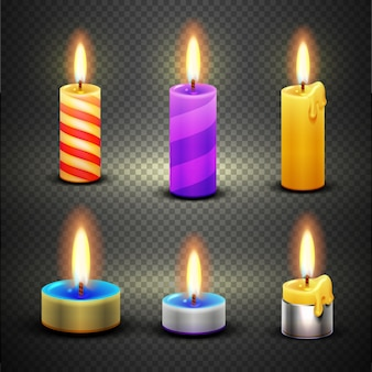 Different candles with flame for birthday and christmas holiday. vector set isolated on checkered tr