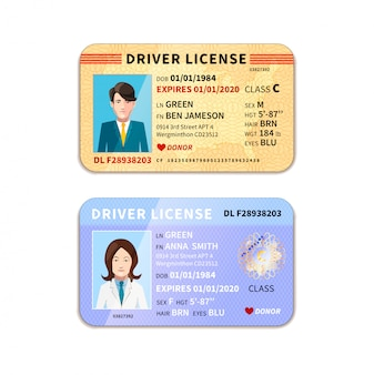 Different car driver licenses with photo on white