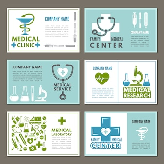 Different cards with theme of medicine and science