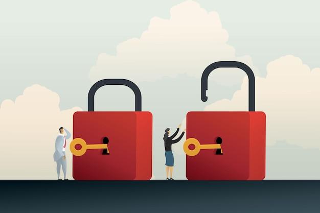 ビジネスのロックを解除するための2人のビジネスマン間の異なるキャリアの機会