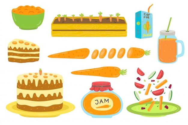 Различная еда моркови на здоровой варя изолированной иллюстрации нарисованной рукой.