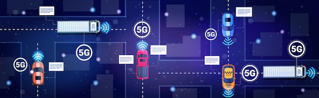 Different cars on road traffic 5g online wireless systems connection concept