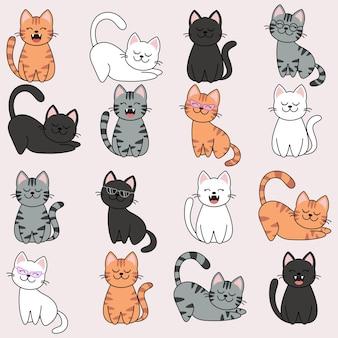 다른 만화 고양이 캐릭터 세트, 포즈 및 감정.