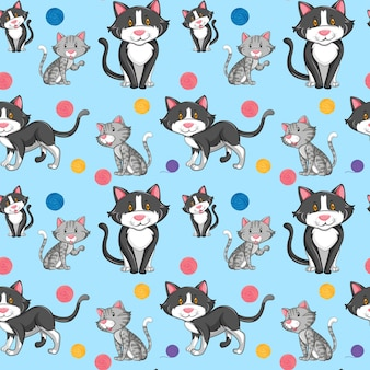 Different cat on seamless pattern