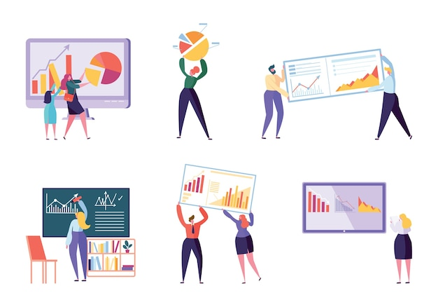 別のキャラクターのビジネスアナリストセット。人々はチャートを作成し、ビジネスデータを分析します。フラットベクトル漫画イラストオフィスワーカーの作業インフォグラフィック、分析進化スケール