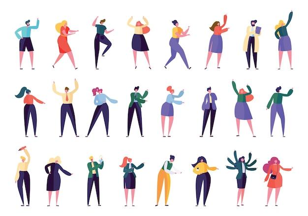 別のキャラクターのビジネスアシスタントワークセット。さまざまな従業員が孤立した作業を支援します。男性と女性のコミュニティは一緒に立っています。労働者コレクションフラット漫画ベクトル図