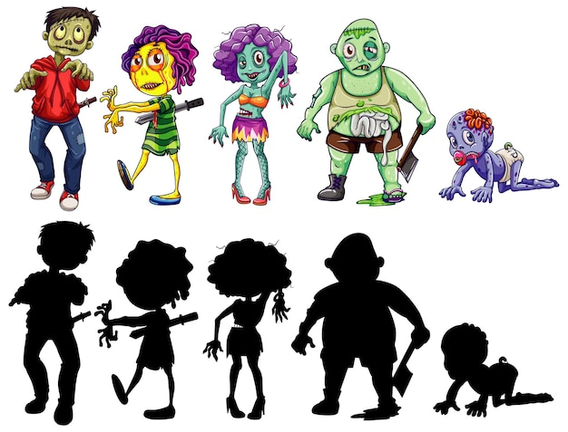 Different character of zombies in color and silhouette cartoon style isolated