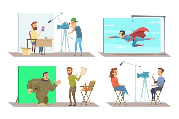 Разные персонажи на съемках фильма Premium векторы