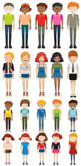 Different characters man and woman illustration