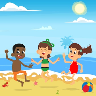 Different children jump and enjoy on the sea beach.