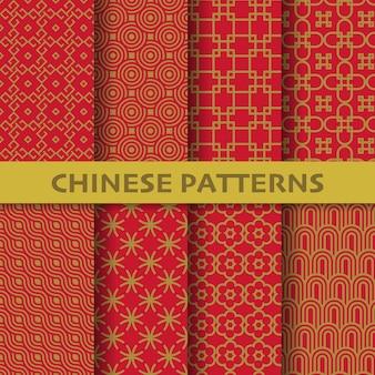 다른 중국, 일본 및 아시아 문화 벡터 원활한 패턴