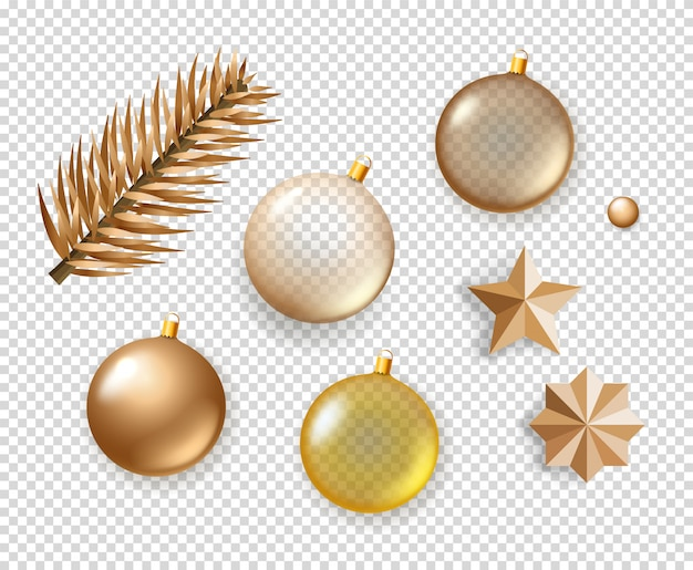 Different christmas elements collection. objects isolated on transparent background