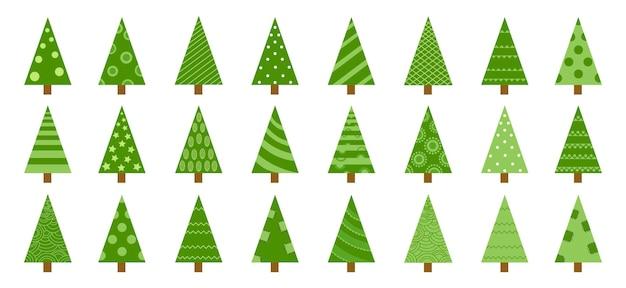 別のクリスマスツリーセット、ベクトルイラスト。グリーティングカード、招待状、バナー、ウェブデザインに使用できます。