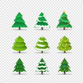 Коллекция различных новогодних елок, изолированные на прозрачном фоне