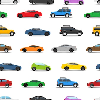 Different city cars seamless pattern