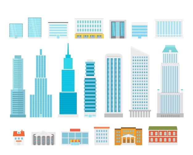 다른 도시 요소 컬렉션입니다. 현대 도시 주택 및 고층 빌딩